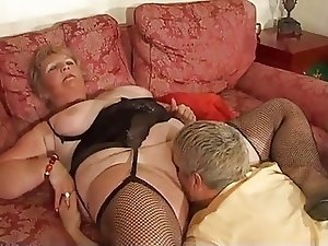 Blonde Shorthair BBW-Granny by young Guy