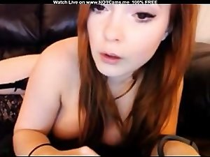 Hot Busty Tattooed Redhead Masturbating (Hair