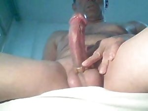 Dude uses a cock ring as he jacks off on his homemade video