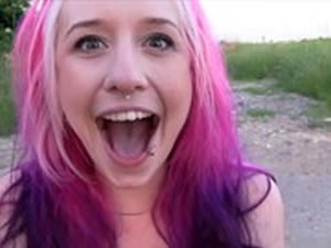 Purplehead emo hooker works outdoor - xxx free video