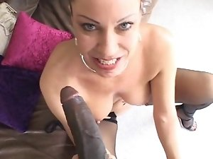 Horny blonde in sexy stockings likes big black dicks