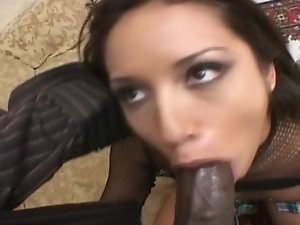 Brunette whore sucks black dick