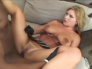 Busty blonde chick enjoying hard ebony cock