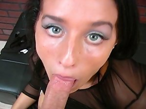 horny bitch deep throat fucks a big dick. She gets a facial